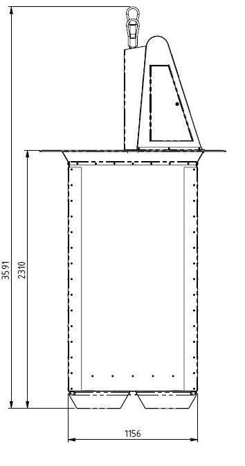Planos técnicos buzón de residuos. Vista lateral